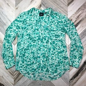 Anthropologie Maeve Teal Floral Button Down Blouse